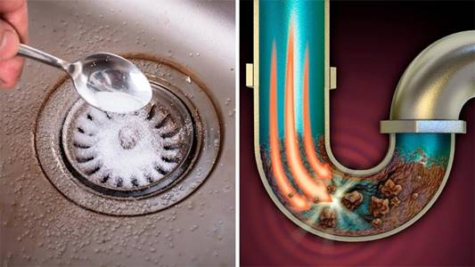 A clogged drain being unclogged with baking soda and vinegar.